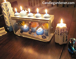 candles in a fish tank